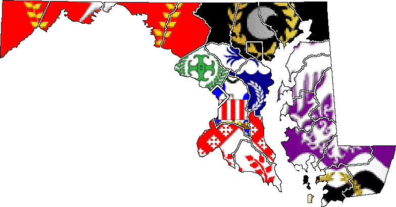 Heraldic Map of Maryland and the District of Columbia